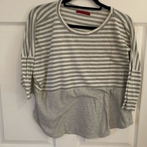 Gray and white stripped blouse